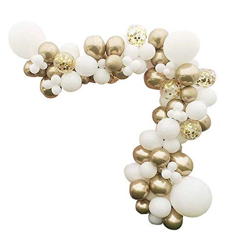 70 Packs DIY Balloon Garland Kit-83 Packs,Gold Metallic Chrome,Shiny White,Gold Confetti Latex Balloons into Arch for Wedding, Baby Shower, Graduation, Anniversary Party Decorations, Engagement ()