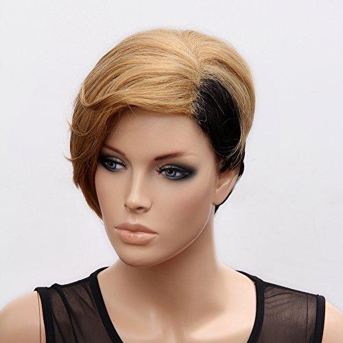 (WG-RIHANNA1-2S124) Short Hair Wig. Blonde & Black Color.