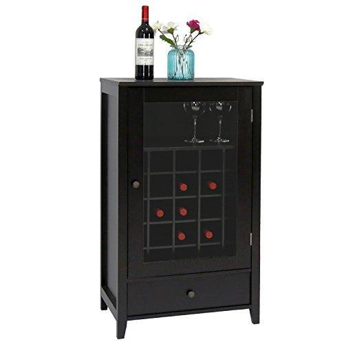 Peach Tree Sideboard Cabinet Wine Storage Wine Cabinet Table Big Storage Useful Buffet Table Kitchen Furniture, Black (Bar Wine Buffet Rack)