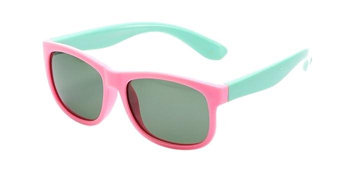 KINDOYO Unisexo Gafas de Sol para Niños Niñas Moda Wayfarer Flexible Rubber Deportivas Clásico Polarizadas Gafas