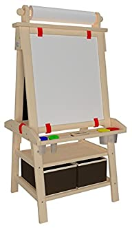 Little Partners Deluxe Art Easel (Natural) – Two Sided A-Frame Paint Easel, Chalk Board & Magnetic…