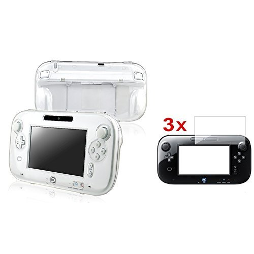 eForCity® Clear Crystal Case Cover + 3x Clear Screen Protector Compatible With Nintendo Wii U Gamepad