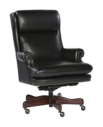 Leather Executive Chair w Pnuematic Lift Mechanism, Black 309265-OG-93785-O-415796 - Executive Chair Hekman Furniture