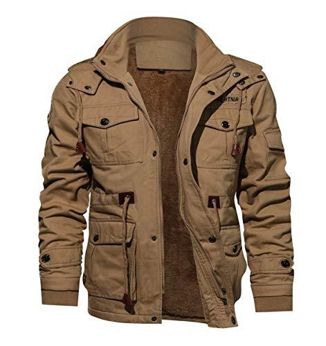 TACVASEN Men's Military Cargo Jacket Windproof Hiking Outwear Coat Khaki,US XL/Tag 5XL