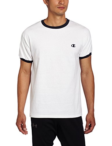 Champion Mens Jersey Ringer T-Shirt, White/Navy, Large
