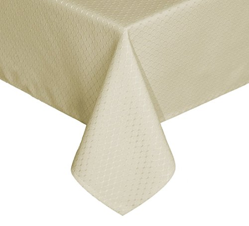 TEKTRUM Heavy Duty 70 X 70 inch Square Elegant Waffle Weave Check Jacquard Tablecloth Table Cover -Waterproof/Stain Resistant/Wrinkle Free - Great for Dinner, Banquet, Parties, Wedding (Beige)