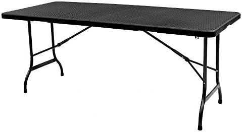 Mesa grande plegable para picnic en color negro. Mesa de 180 cm ...