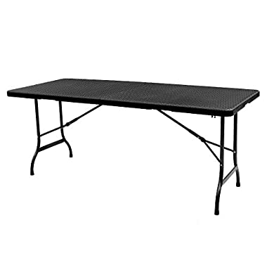 IKAYAA 6FT Folding Camping Picnic Table Portable Outdoor Garden Party BBQ Dining Desk