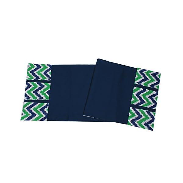 Bacati – Mix N Match Ikat Zigzag/Chevron Nursery Storage (Changing Table Storage Runner, Navy/Green)