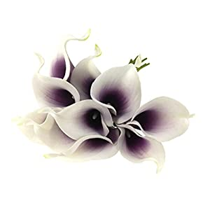 Unigift Latex Real Touch Artificial Calla Lily Flower Bouquet Wedding Party Home Bedroom Garden Restaurant Decoration - Bunch of 10 (Dark-Purple) 27