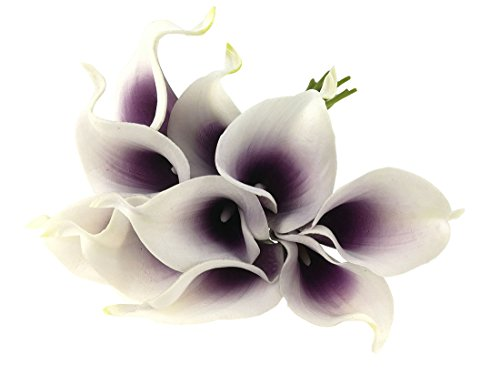 Latex Real Touch Artificial Calla Lily Flower Bouquet Wedding Party Home Bedroom Garden Restaurant Decoration - Bunch of 10 - Purple Lily Dark
