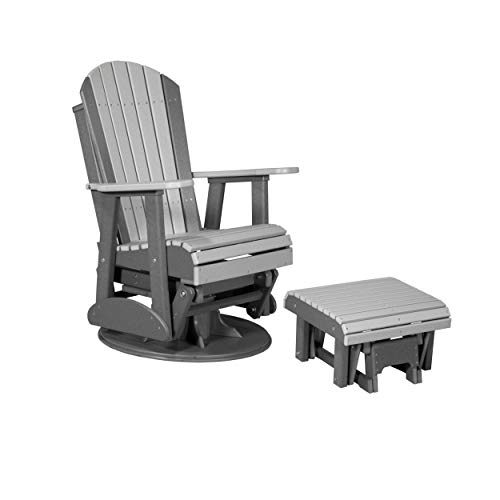 LuxCraft Poly Recycled Plastic 2' Adirondack Swivel Glider with Ottoman Set (Earthtone - Dove Gray & Slate)