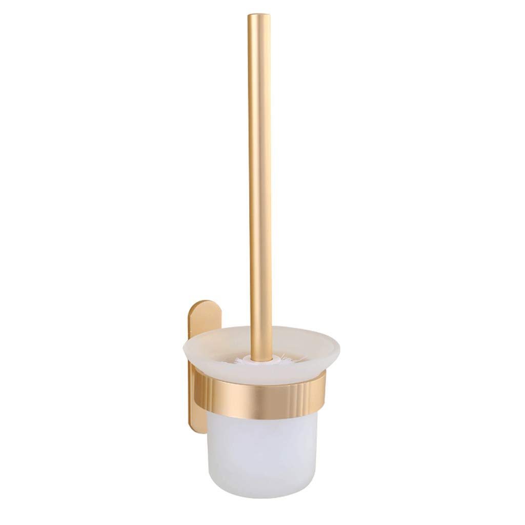 YXN Toilet Brush Holder Set Space Aluminum Long Handle Suction Cup Type Cleaning Brush Cylindrical Glass Brush Cup Rust-Proof Moisture-Proof Toilet Brush H35 cm (Color : Gold)