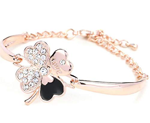 TMROW Fairy Season Christmas Jewelry Womens Good Luck Bracelet Four-Leaf Clover Crystals