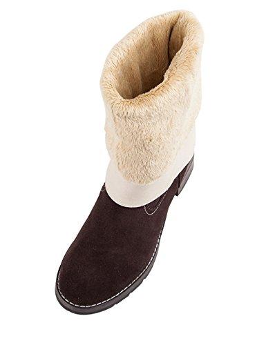 Youlee Damen Winter Warm Hohe Stiefel Blockabsatz Stiefel Martin Stiefel Braun