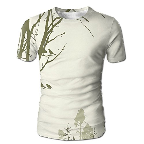 Edgar John Nature Theme The Panorama of A Forest Pattern Birds On Tree Branches Print Men's Short Sleeve Tshirt S