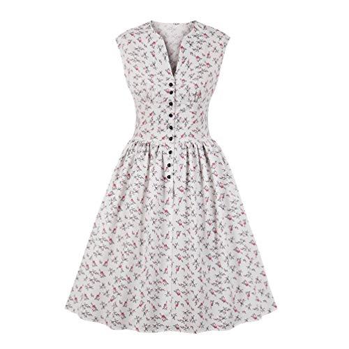 Nicetage Women's Split Neck Floral Button 1940s Day 1950s Vintage Tea Dress C-HS270-1756 White XL -