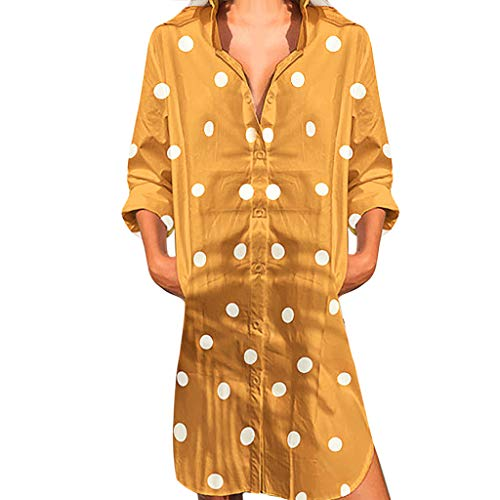 AMQSWW Women's Stretchy A Line Swing Flared Skater Cocktail Party Dress Ladies V-Neck Casual Party Work Faux Wrap Dress Yellow