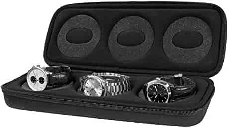 Watch Case Box for Display: Protective Holder and Organizer for Three 50mm Watches - Cushioned Nylon Timepiece Collection Storage Cases for Men and Women - Boxes for Luxury/Smart Watches