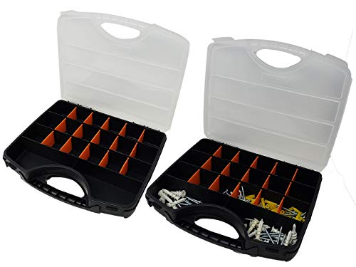 Small Tool Hardware Box Storage (2 Pack) with Removable dividers | 20-Slot for Hardware, Screws Nuts and Bolts…