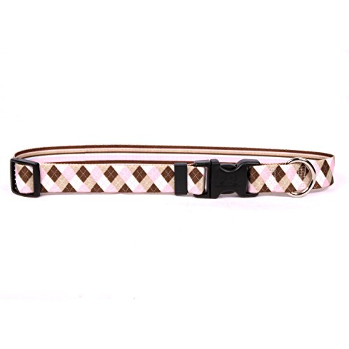 Yellow Dog Design Pink & Brown Argyle w/Stripes Dog Collar - Size Extra Small - 3/8 Inch Wide