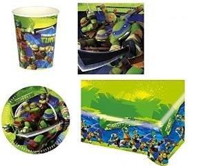Cdc -kit n°4 festa e party Tartarughe Ninja- (16 piatti, 16 bicchieri, 20 tovaglioli,1 tovaglia) Procos