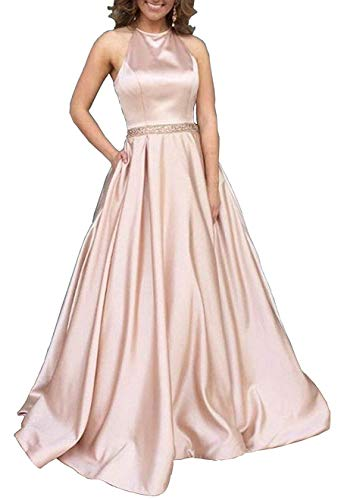 Prom Dresses Long Halter Satin Beaded Backless Formal Evening Gown with Pockets Rose Gold Size 2