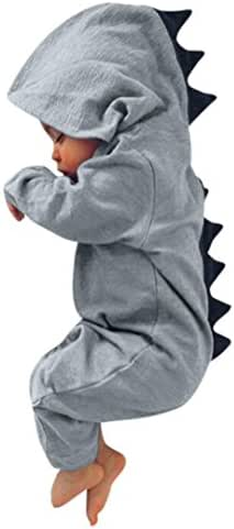 Hot Sale!!Dinosaur Hooded Romper,Newborn Infant Baby Boy Girl Jumpsuit Outfits Clothes - Woaills (Gray, 6M)