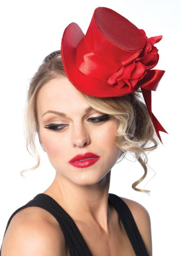 (Leg Avenue Satin Top Hat With Flower And Bow Accent, Red, One Size)