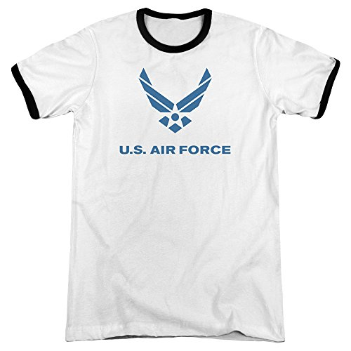 Air Force Distressed Logo Unisex Adult Ringer T Shirt for Men and Women, X-Large White/Black
