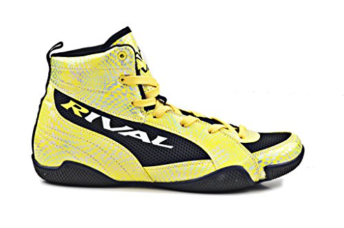 RIVAL BOXING BOOTS-LOW TOPS (YELLOW SNAKE SKIN & BLACK, 8)