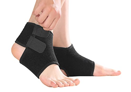 Kids Girls Boys Adjustable Compression Ankle Support Outdoor Sports Breathable Running Cycling Skating Dance Ankle Brace Protector Guard, 1 Pair, Black