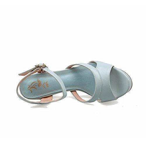 Amoonyfashion Donna Open Toe Chiodini Sandali Con Fibbia In Tinta Unita Blu