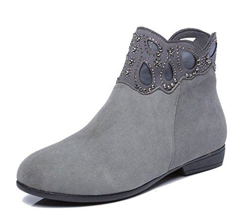 Flat Botas Piel Mujer de Y Botas GTVERNH Botas Otoño Botas Primavera Bottomed Planta De Zapatos gray Cortas Martin 7qfWHwzZ
