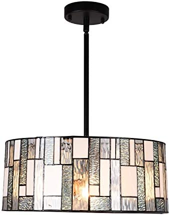 Artzone 3-Light Tiffany Style Pendant Lighting 16 inch Wide Contemporary Stained Glass Hanging Light Fixtures Chandelier Kitchen Lighting