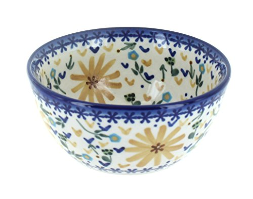Blue Rose Polish Pottery Yellow Daisy Dessert Bowl