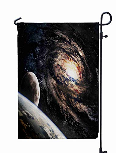 Shorping Welcome Garden Flag, 12x18Inch Beautiful Spiral Galaxy in Deep Space Elements This Image Furnished by NASA Somewhere for Holiday and Seasonal Double-Sided Printing Yards Flags ()
