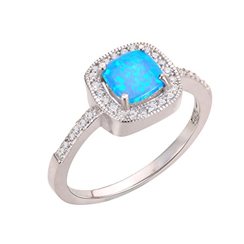 CloseoutWarehouse Blue Simulated Opal Princess Halo Ring Sterling Silver Size 6 by CloseoutWarehouse (Image #2)