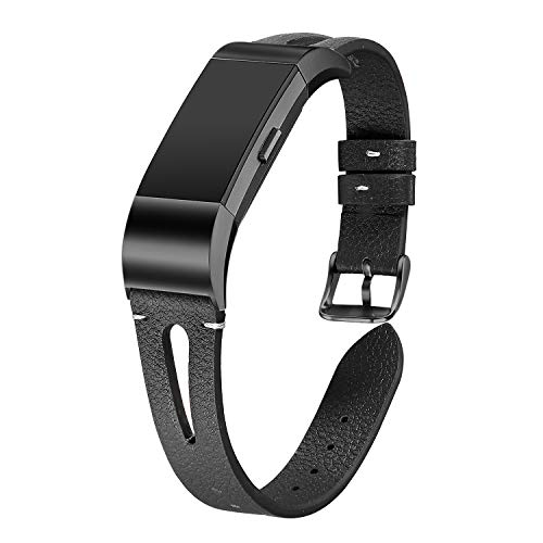 - bayite Leather Bands Compatible Fitbit Charge 2, Replacement Genuine Wristband Straps Women Men, Black Large