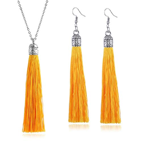 - Tuoke-peri Colorful Long Tassel Necklace Dangle Earrings Bohemian Drop Pendant Jewelry Sets for Women and Girls (1 Yellow)