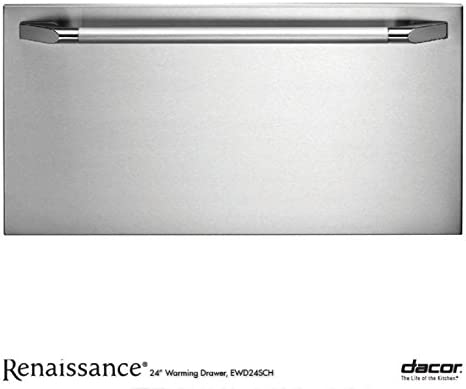 """Dacor EWD24SCH Renaissance 24"""" Epicure Warming Drawer with 500 Watt Heating Element 4 Timer Settings Plus Infinite Mode and Blue LED Light Indicator: Stainless Steel with Chrome"""