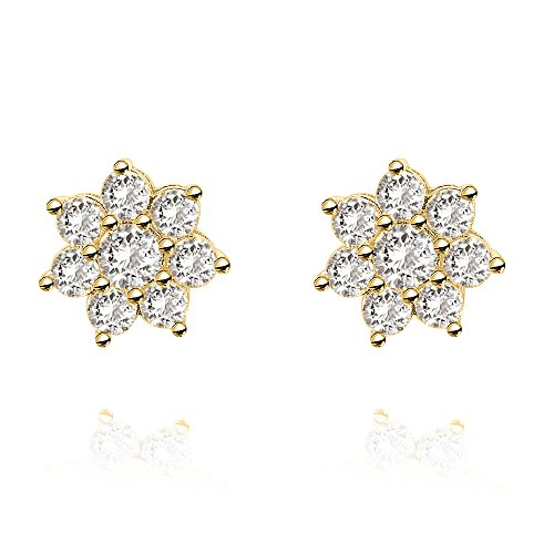 PAVOI 14K Yellow Gold Plated Sterling Silver Post Cubic Zirconia Cluster Earring Star Stud