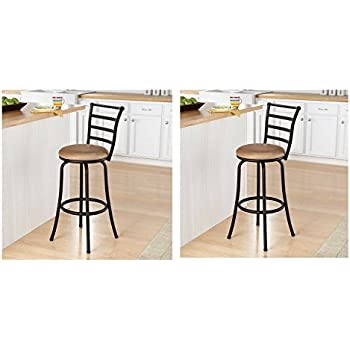 Amazon Com Mainstays 29 Quot Ladder Back Barstool With Tan