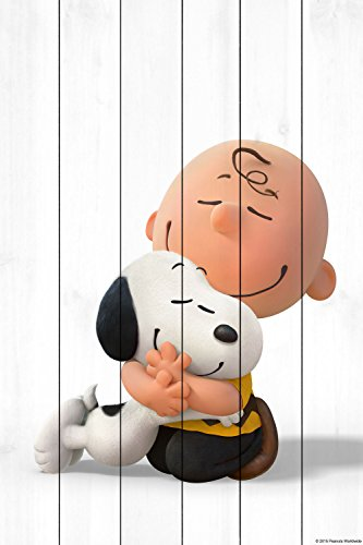 Peanuts MH-PNTS-31M-WW-24 Hugging Painting Print On White Wood, Multicolor, 16'' x 24'' by Marmont Hill