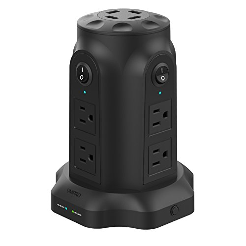[ Upgrade ] Umirro 8-Outlet Power Strip Surge Protector with 4 USB Charging Ports ( Max 2.4A per port ) – Pure Black
