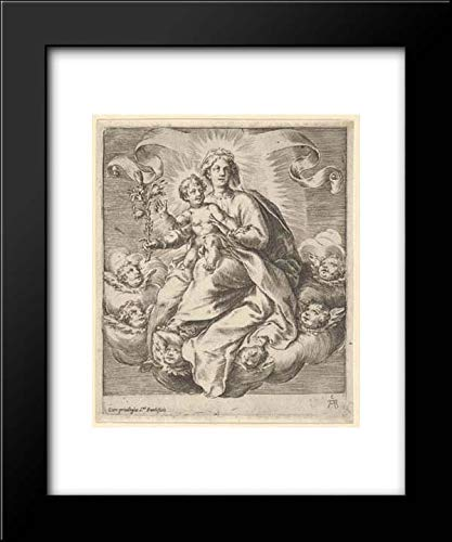 Cherubino Alberti (Zaccaria Mattia) - 15x18 Framed Museum Art Print- Madonna Holding a Lily Branch with The Christ Child on her Lap, Seated on Clouds, Surrounded by Cherub Heads ()