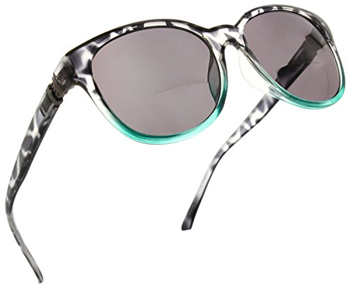Price comparison product image Womens Bifocal Sunglass Reader Fashion Trendy Reading Glasses [Black / Teal,  1.75]