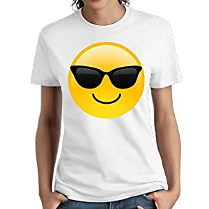 Zzwfi Womens Smiling Face With Sunglasses Cool Emoji Slim Walk White Tee S Short Sleeve