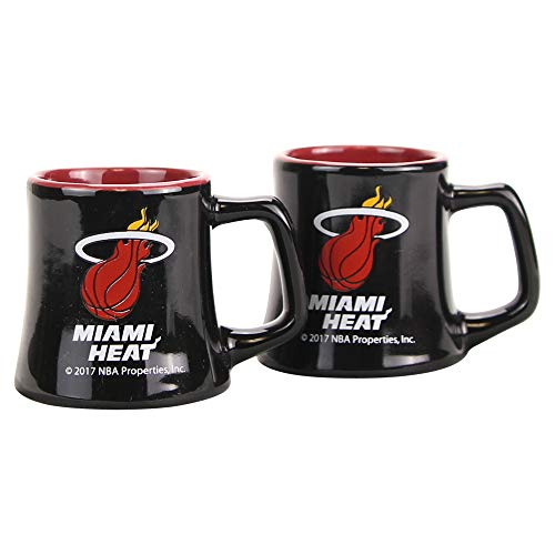 Miami Heat Glass - NBA Full Color Sclupted Mug 2oz Shot Glass 2-Pack (Miami Heat)