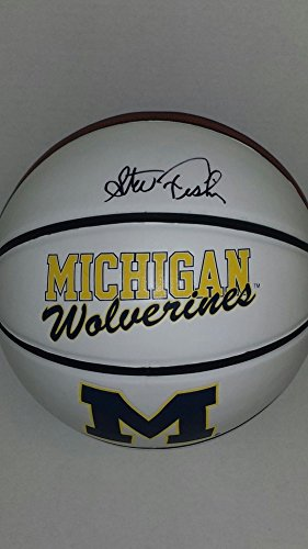 1989 Michigan Wolverines Basketball (Autographed Steve Fisher Signed Michigan Wolverines Logo Basketball Fab 5 1989 Champs)
